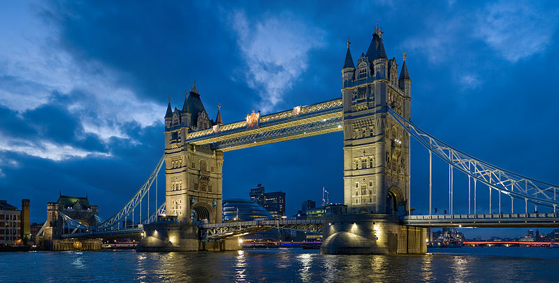 Tower of London Bridge at night.