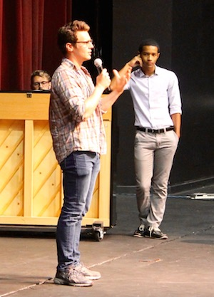 Jonathan Groff with student