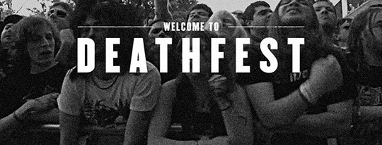 A title graphic for the film Welcome to Deathfest