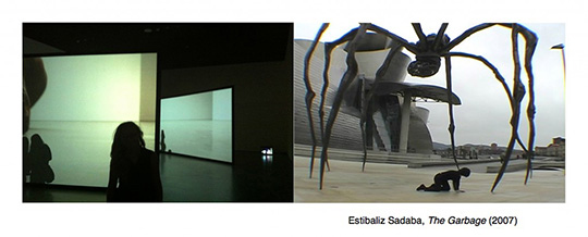 "Stills from ""The Garbage"" featuring a girl in shadowing looking at a projection and a giant spider hovering over a person"