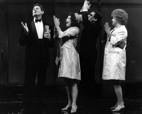 Black and white photograph from the 1990 production of Merrily We Roll Along