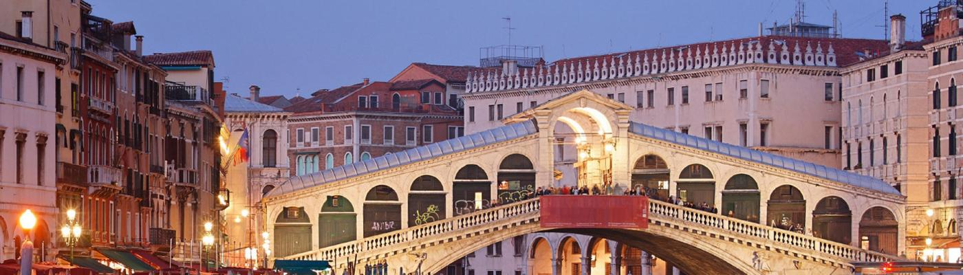 Venice bridge at night