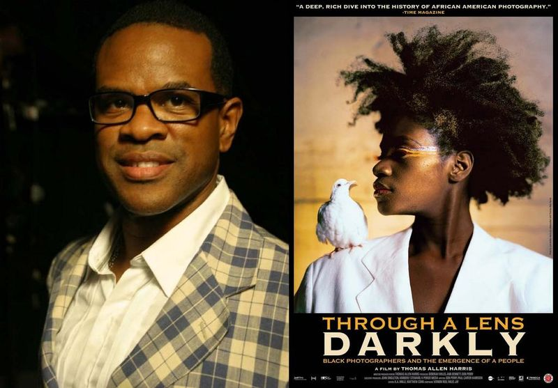Thomas Allen Harris with poster for THROUGH A LENS DARKLY