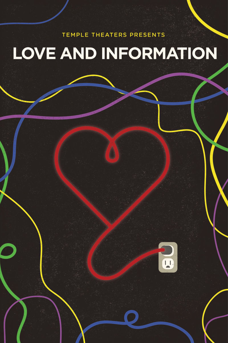 LOVE AND INFORMATION Artwork, red heart on black background