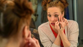 Mary Guarnieri applying make-up for THE ODYSSEY