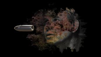 Bala Loca artwork, stray bullet with man's face