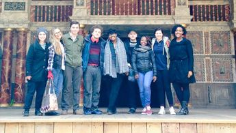 Students at the Globe Theater
