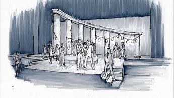 Sketch of Apollo Weaver's design for THE TWO GENTLEMEN OF VERONA