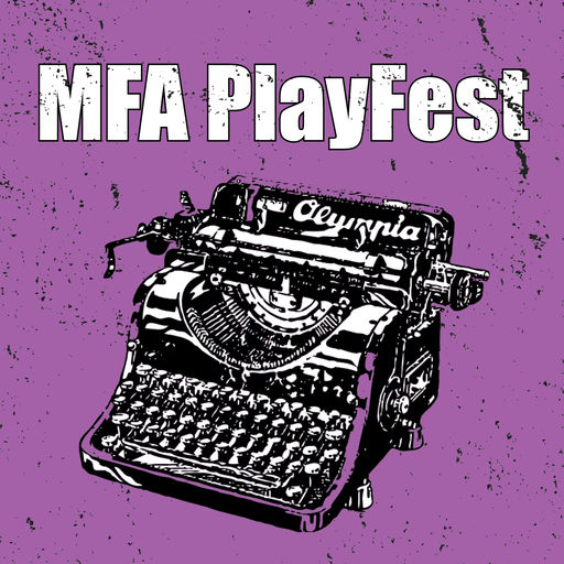 "Graphic of typewriter with ""MFA PlayFest"""