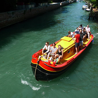 Students on boat in Venice