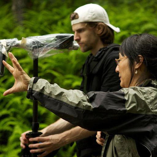 Rea Tajiri with cameraman