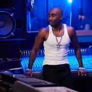 Still of Demetrius Shipp Jr. as Tupac Shakur in recording studio