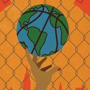 Reggie Hoops Art Work, Hand with Basketball Painted like Globe